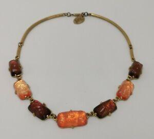 Vtg 1980s Isaky Paris France Gilt Metal & Orange Resin Modernist Style Necklace