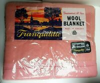 """vintage blanket TRANQUILITIE pure new wool pink 70"""" x 90"""" new sealed"""