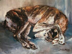 SALE Greyhound Signed Dog Print by Susan Harper Unmounted