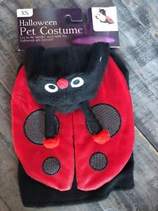 Ladybug Dog Halloween Costume-Black Fuzzy Body & Red Glittery Wings-XSmall