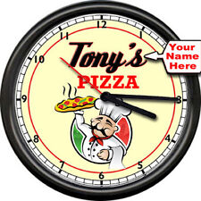 Personalized Your Name Kitchen Pizza Restaurant Italian Chef Sign Wall Clock