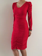 Women's Red Long Sleeve BodyCon Evening Party Clubwear Midi Dress Size 12-14-16
