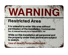 US SELLER, Warning Restricted Area U.S. Military tin metal sign old  living room
