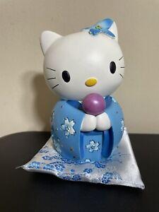 Sanrio Hello Kitty Blue Geisha Outfit Piggy Bank with Cushion Ceramic