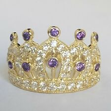 Wide10k Yellow Gold crown ring purple February birth stones  S 6.5