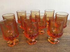 Set 9 Amber Pressed Glass Vintage 4 oz. Juice Glasses Daisy Flower Base Heavy