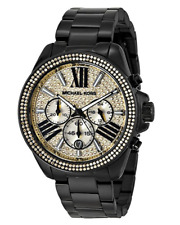 Michael Kors Wren Black Gold Pave Glitz Chronograph MK5961 Womens Watch