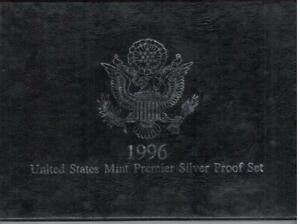SUPERB 1996 UNITED STATES MINT PREMIER SILVER PROOF SET WITH  PAPERS