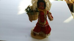 ART (19XX) Mexican Doll -- Woman Carrying Basket of Flowers