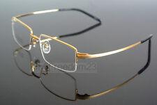 Titanium Gold Eyeglass Frame Half Rimless Optical Glasses Spectacles Rx able
