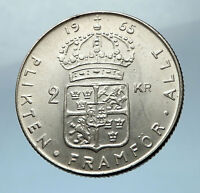 1965 SWEDEN King GUSTAV VI ADOLF 2 Kronor LARGE Silver SWEDISH Coin  i68225