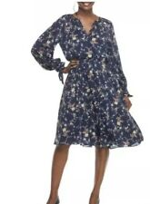 GAL MEETS GLAM 4 Navy Teal BONNIE Floral Blouson Dress Long Sleeve Medium M
