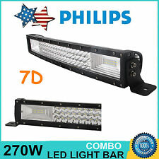 7D+ Tri-Row 22inch 270W Curved LED Work Light Bar Combo Off-Road ATV 120W 23/24""