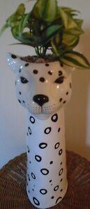 Matalan - New - Tall Leopard Design Ceramic Planter - Size 55cm x 16cm x 14cm