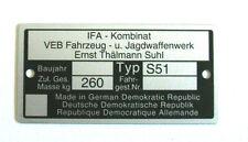 Simson S51 Typenschild schild Baumusterschild ID Plate S 51 / 1 S51-1 Neu