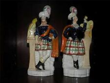 PAIR ANTIQUE STAFFORDSHIRE FIGURINES MAN & WOMAN BIRDS ACTORS