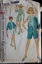 Vtg 1950 Simplicity 3012 Slenderette Blouse Shorts Jacket Ensemble Pattern Uncut