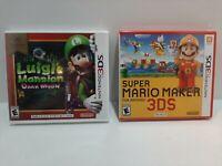Luigi's mansion Dark moon & Super Mario Maker Nintendo 3DS. NEW Free shipping.