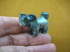 (Y-DOG-LL-10) gray Lhasa Apso Mi Ki DOGS I love my dog carving SOAPSTONE puppy