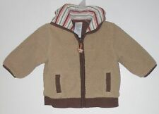 GYMBOREE Size 6-12 Months Boys Brown Fleece Fully-Lined Hoody Jacket