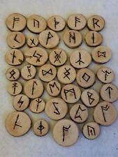wicca runes letters Elder futhark 150-800 AD 36 tiles wood burned pine FREE SHIP