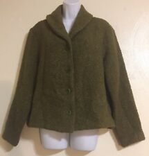 Eileen Fisher Wool Blend Chunky Knit Knubby Button Front Sweater Jacket Medium
