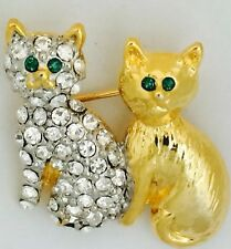 Gold Plated Two Cats Stone Set Fashion Brooch.