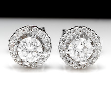 .80Ct Natural Diamond 14k Solid White Gold  Earrings