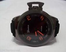 NEW Men's Geneva Oversized Black/Orange Silicone Band Watch +  Free Battery