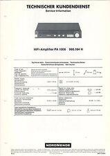 NORDMENDE - Service-Information HiFi Amplifier PA 1006  B1805