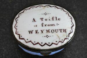 Georgian Mirrored Bilston Enamel Patch Box A Trifle From Weymouth Dorset