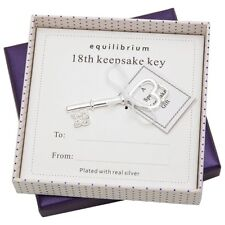 Equilibrium Silver Plated 18th Birthday Gifts Friend Keepsake Key Girls Present