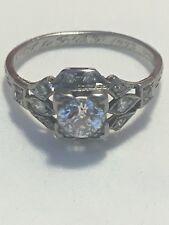 Vintage platinum ANTIQUE ART DECO RETRO 1920's DIAMOND ENGAGEMENT FILIGREE ring