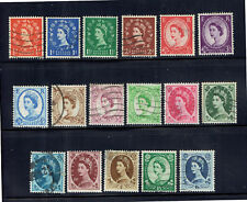 UK 1955-58 QEII Wildings Complete Set x 17 Stamps - Fine Used