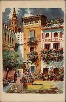 Sevilla Andalusien Spanien Color AK ~1920/30 Plaza de Santa Marta ungelaufen