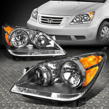 FOR 2008-2010 HONDA ODYSSEY PAIR BLACK HOUSING AMBER SIDE HEADLIGHT/LAMP SET