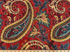 Plumtree Paisley Jewel Waverly Print Linen Drapery Upholstery Decor Fabric Red
