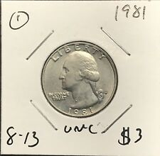 1981 WASHINGTON QUARTER. UNC COLLECTOR COIN FOR YOUR SET OR COLLECTION.1