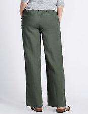 Ladies, Womens Wide Leg Linen Trousers Lesuire Pant Flax, Navy, Black Beachwear