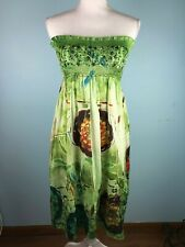 Lapis Anthropologie Womens One Size Tube Top Dress Green Print Sequins