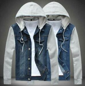 New Mens Denim Detachable Hooded Jacket Colorblock Jacket Outwear Hoody