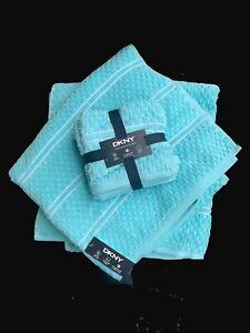DKNY Bathroom Towel Set Of 7 Hand Turquoise Blue Aqua 💯 Cotton