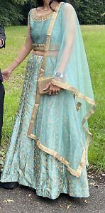 Wedding Lehenga Indian Women Bollywood Ethnic Party Wear Green Blue Lengha Choli