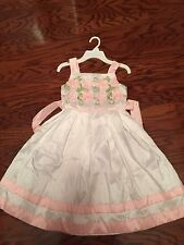New THE CHILDREN'S PLACE  Beatefull White DRESS WIth Pink Trim GIRLS 6