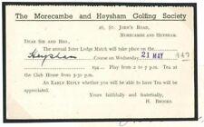 DBT239 1947 Golf Morecambe & figuran Golf Tarjeta de respuesta de la sociedad match/Morecambe