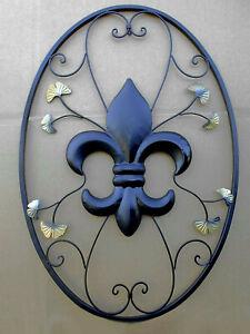 """Große XXXXL Wanddeko """"französische Lilie"""" 91,5 x 62,5cm aus Eisenblech, schwarz"""