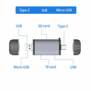 6-in-1 Type C 3.1 Micro USB OTG HUB Adapter to Multiport Data TF SD Card Reader
