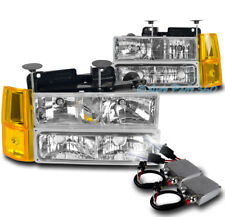 94-98 GMC C/K 1500 SUBURBAN HEADLIGHTS LAMP W/BUMPER+CORNER+50W 8K HID KIT CLEAR