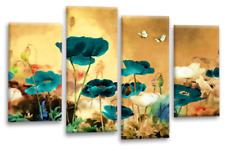Le Reve Floral Wall Art Cream Teal White Canvas Print Poppy Flowers Split Panel