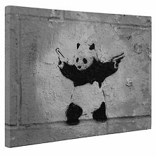 "Banksy Canvas Panda Black Grey Print Wall Art A1 x Large 20"" X 30"" Inches"